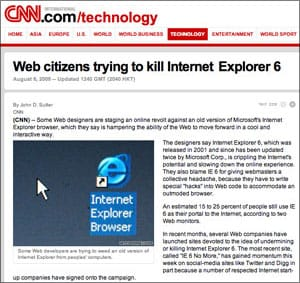 CNN: kill Internet Explorer 6